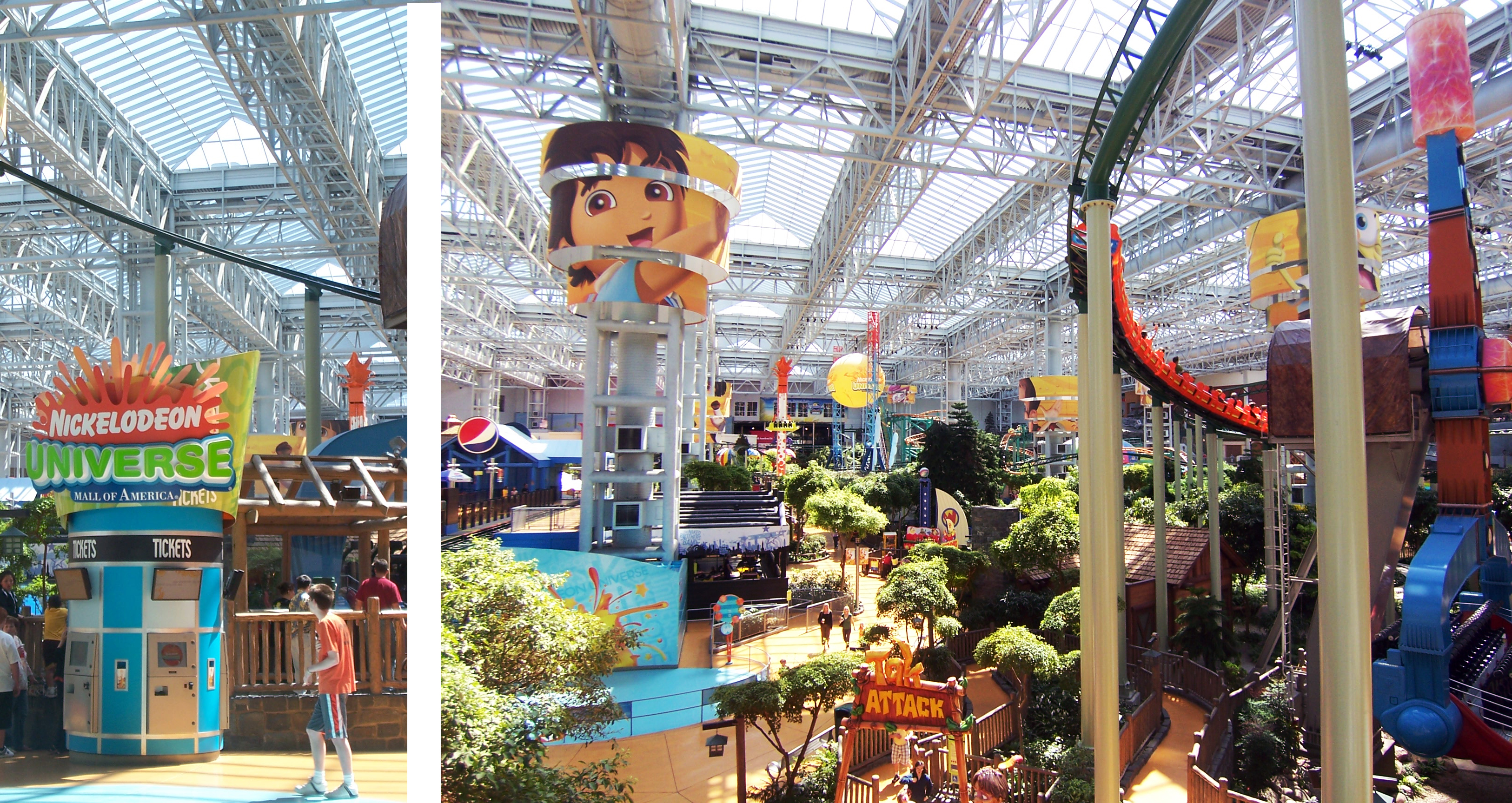 Nickelodeon Universe®, the nation's largest indoor theme park, is home to seven acres of unique attractions, entertainment and dining options. Meet the Nick characters, experience spine-tingling rides, visit unique retail shops and much more! Test.