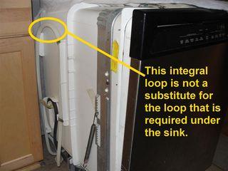 Dishwasher Integral Drain Loop
