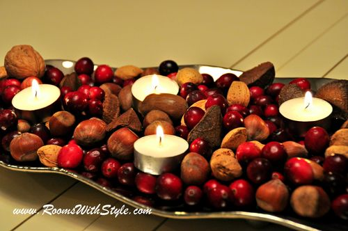 Cranberries and Nuts in Silver Tray