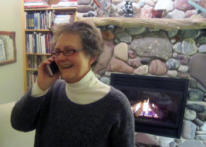 Sharlene on phone